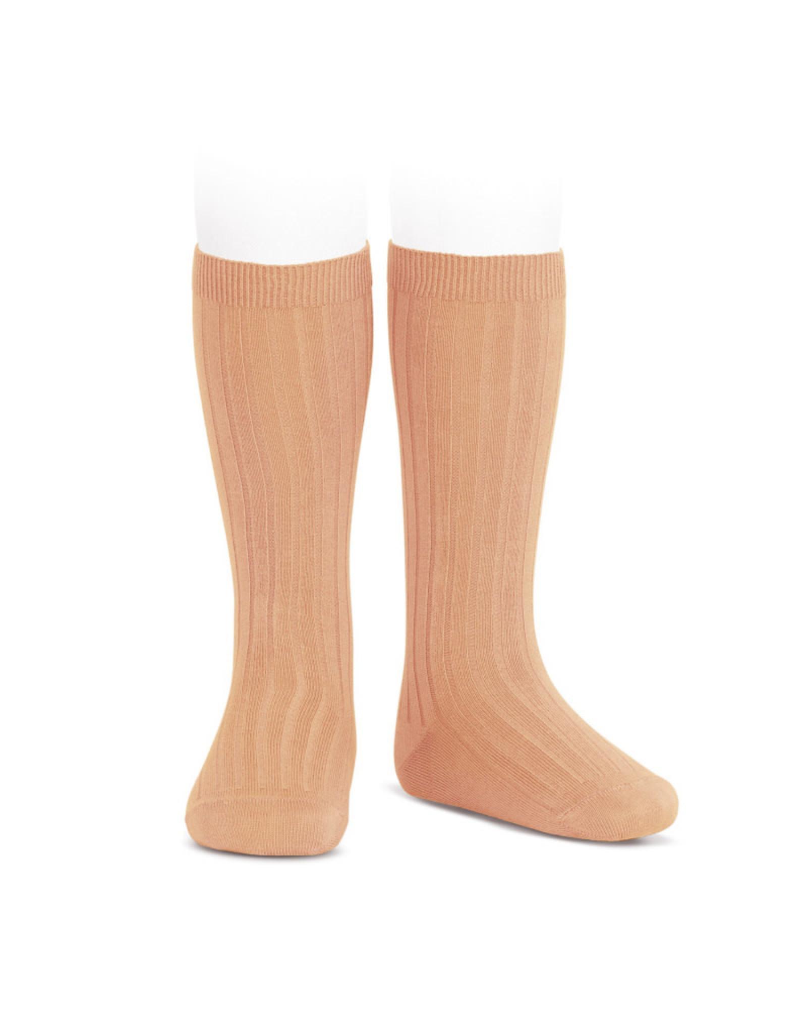 CONDOR Peach Ribbed Knee Socks