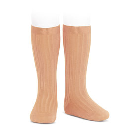 CONDOR Peach Ribbed Knee Socks