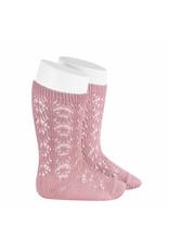 CONDOR Pale Pink Geometric Openwork Socks