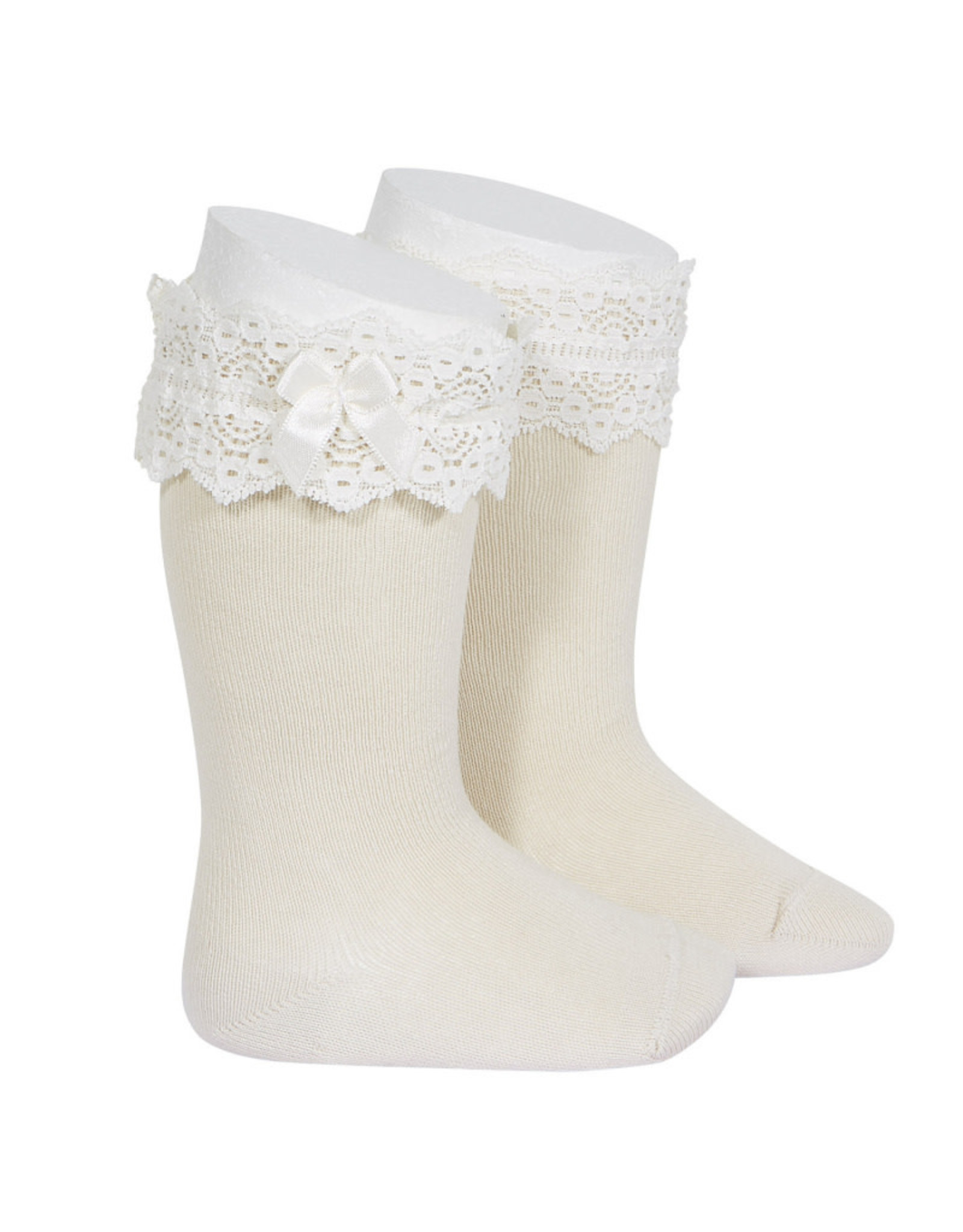 CONDOR Linen Lace Trim Socks with Bow