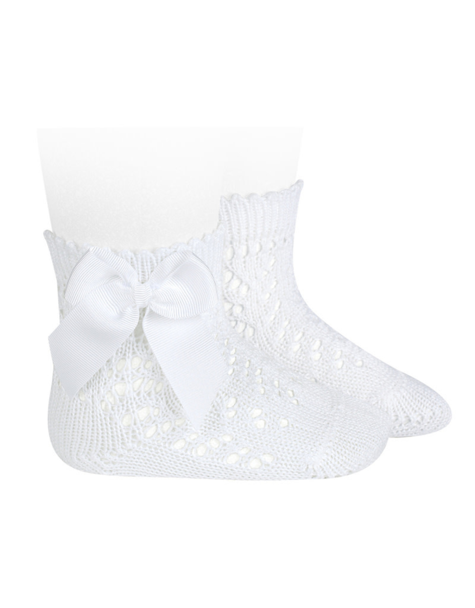 CONDOR White Openwork Short Socks with Bow