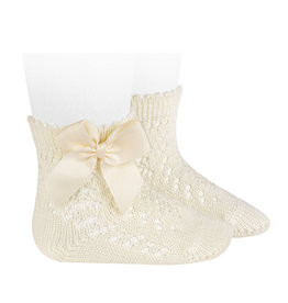 CONDOR Beige Openwork Short Socks with Bow