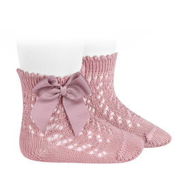 CONDOR Pale Pink Openwork Short Socks with Bow