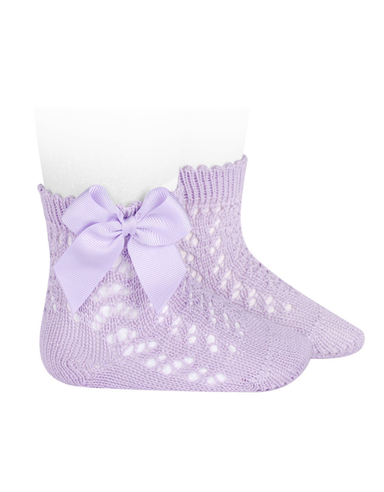 CONDOR Mauve Openwork Short Socks with Bow