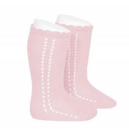 CONDOR Pink Side Openwork Knee Socks