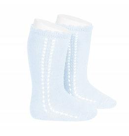 CONDOR Baby Blue Side Openwork Knee Socks