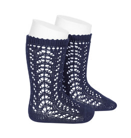 CONDOR Navy Openwork Knee Socks
