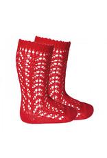 CONDOR Red Openwork Knee Socks