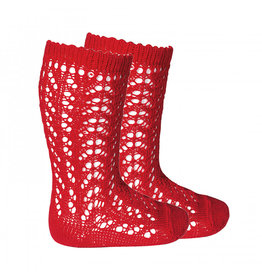 CONDOR Red Openwork Knee Socks