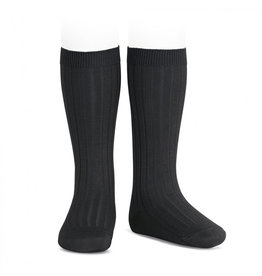 CONDOR Black Ribbed Knee Socks