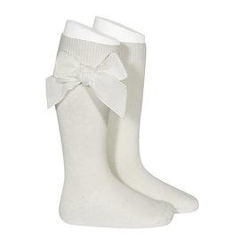 CONDOR Beige Velvet Bow Socks