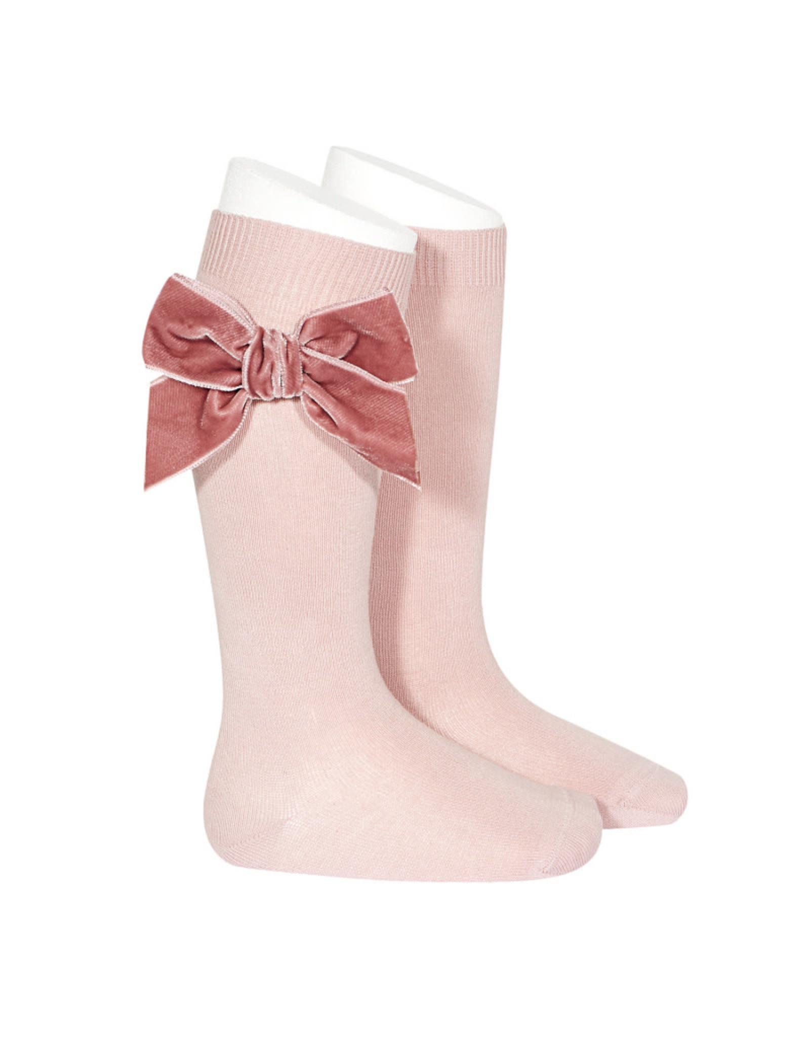 CONDOR Pale Pink Velvet Bow Socks