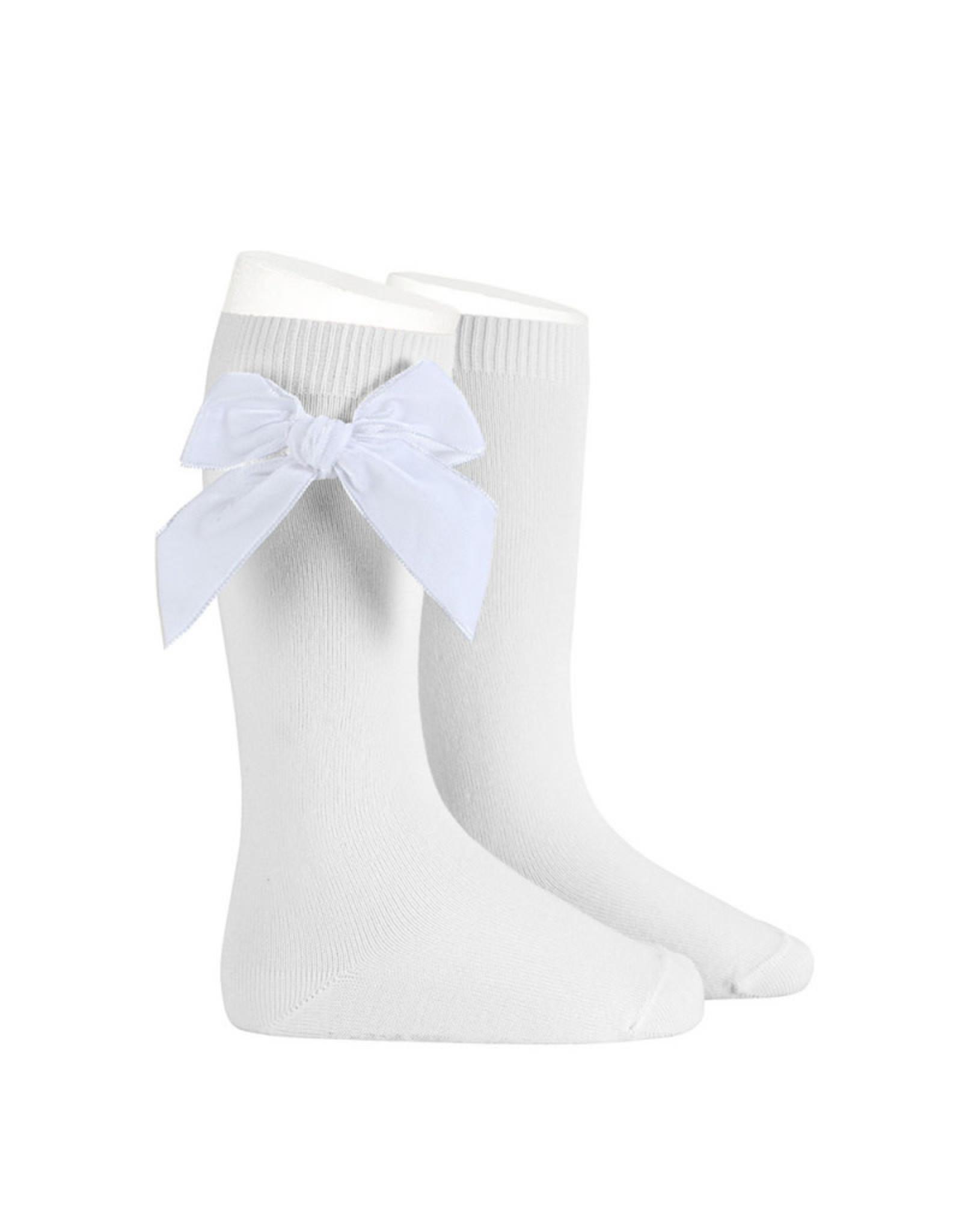 CONDOR White Velvet Bow Socks