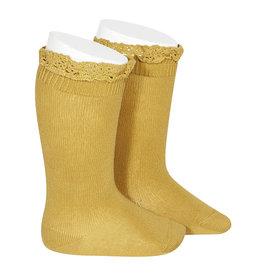 CONDOR Mustard Lace Edging Knee Socks