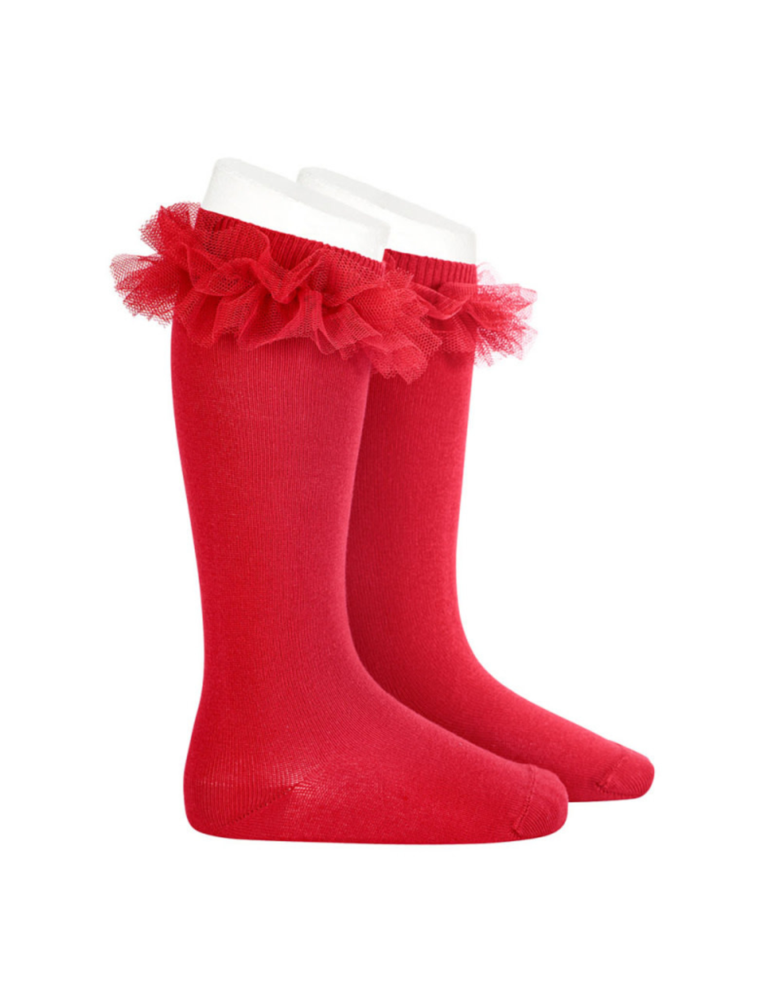 CONDOR Red Tulle Ruffle Knee Socks