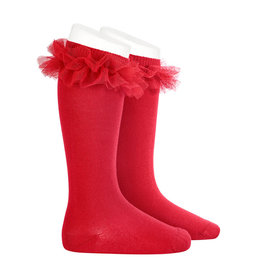 CONDOR Red Tulle Ruffle Knee Socks