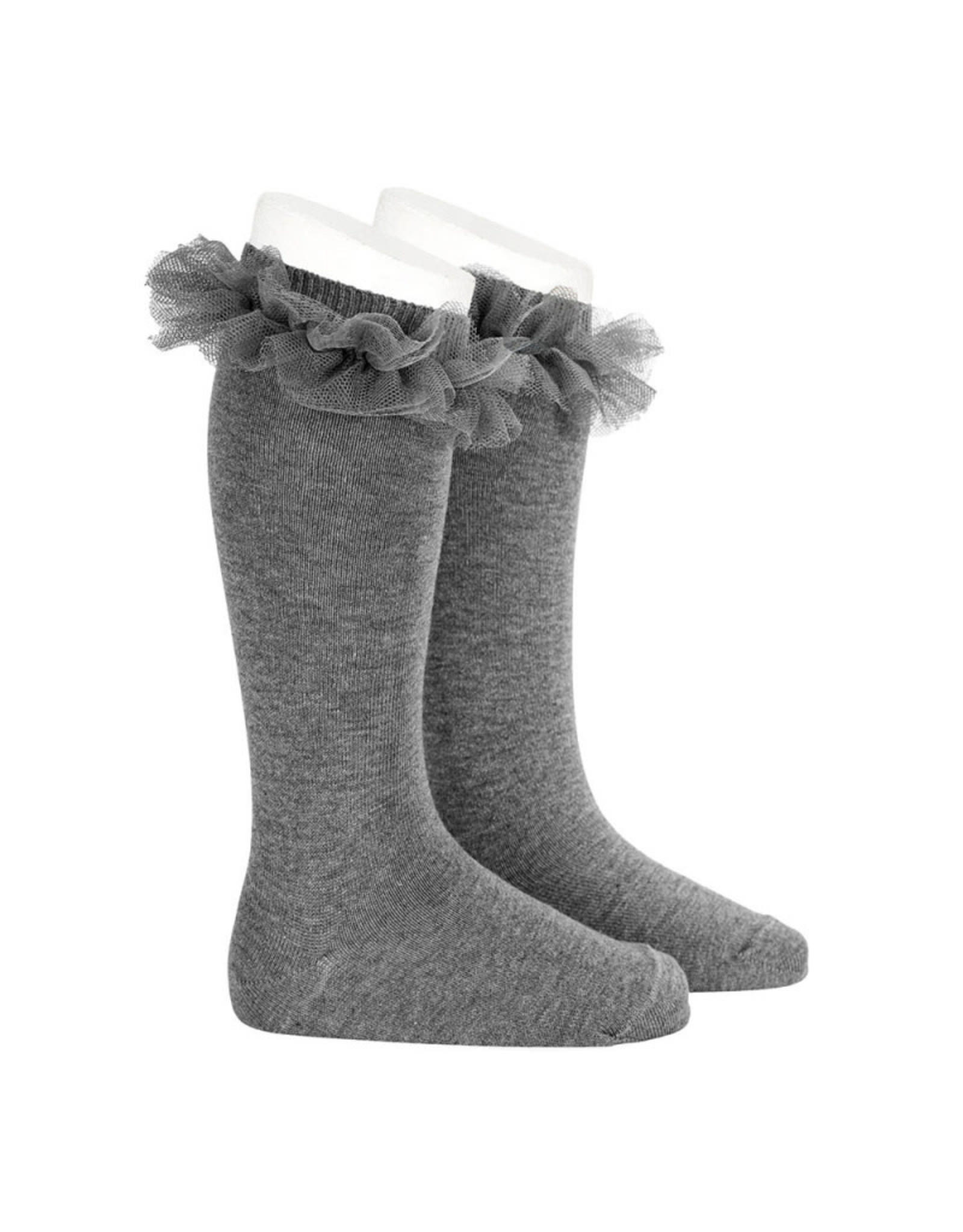 CONDOR Grey Tulle Knee Socks