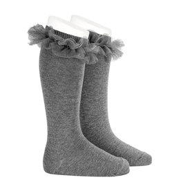 CONDOR Grey Tulle Ruffle Knee Socks