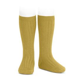 CONDOR Mustard Ribbed Knee Socks