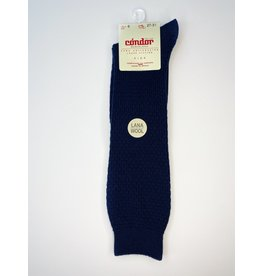 CONDOR Navy Wool Patterned Knee Socks