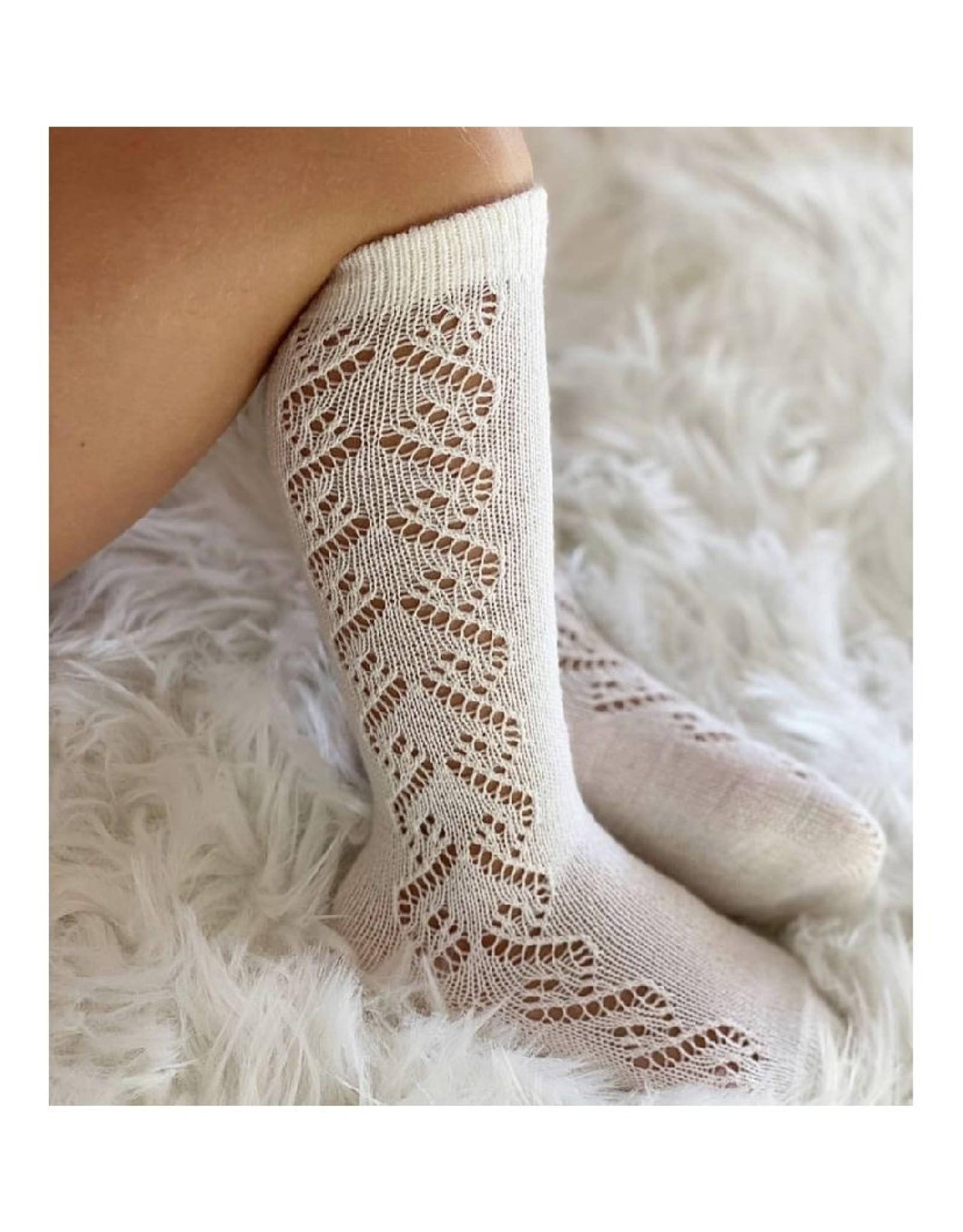 CONDOR Beige Wool Side Openwork Socks