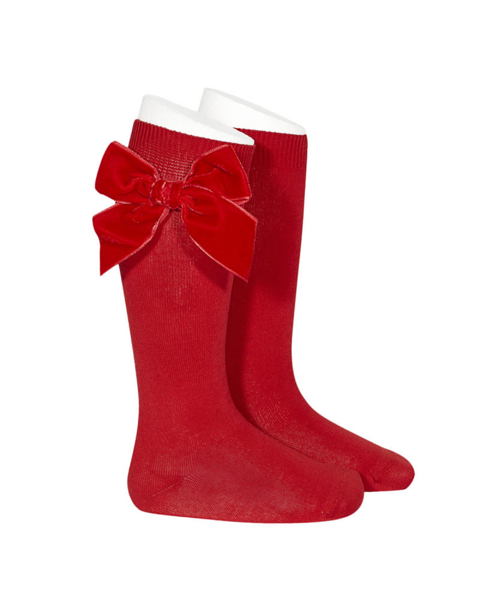 CONDOR Red Velvet Bow Socks