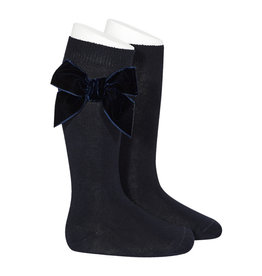 CONDOR Navy Velvet Bow Socks