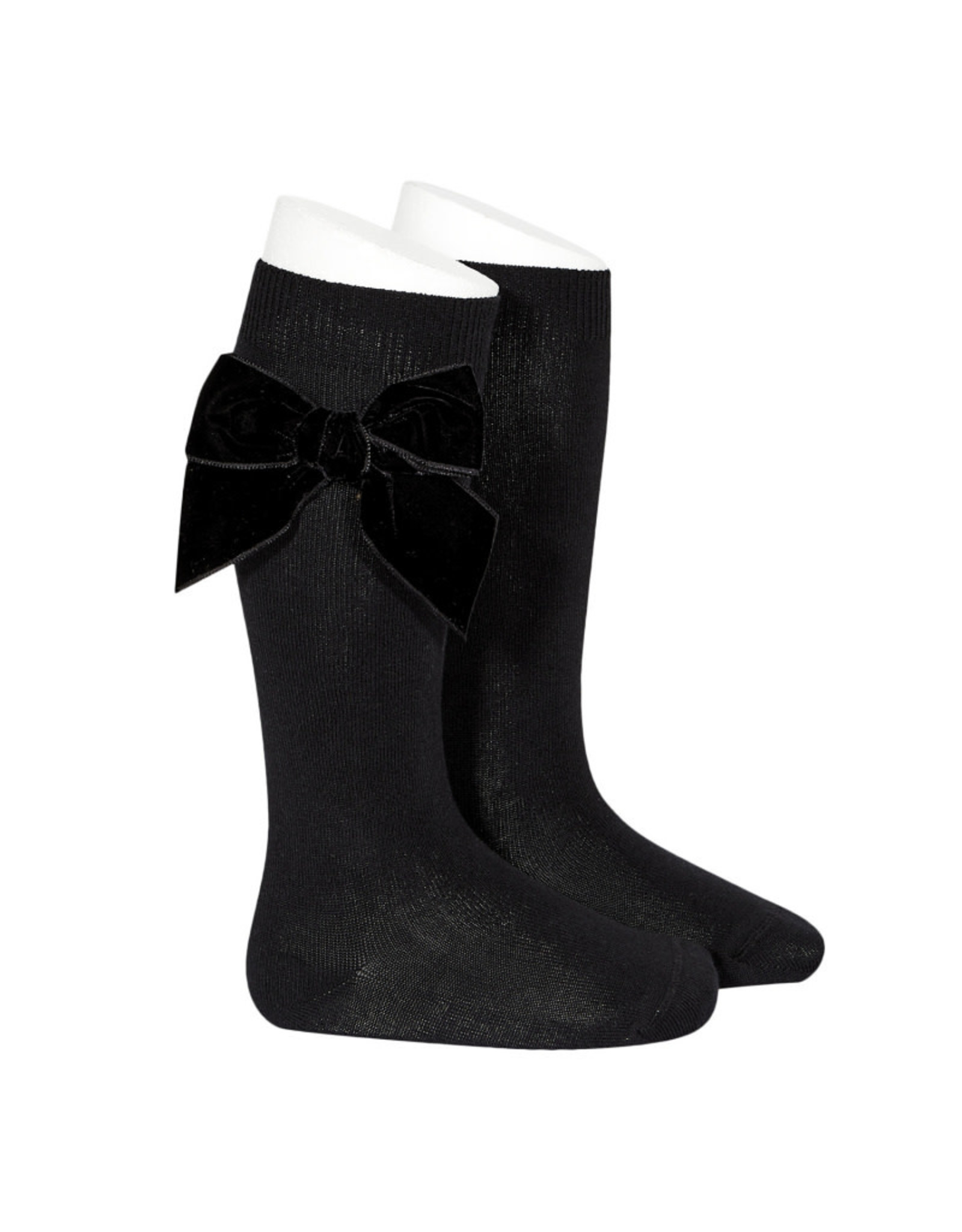 CONDOR Black Velvet Bow Socks