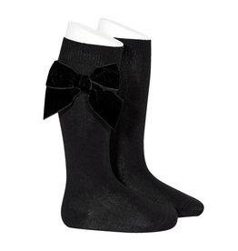 CONDOR Black Velvet Bow Socks