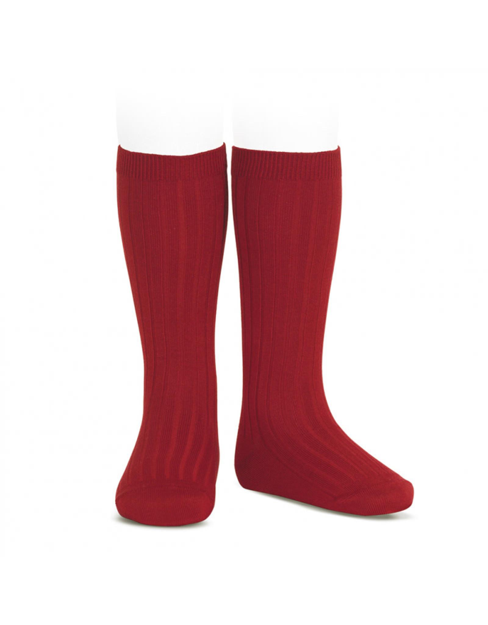 CONDOR Cherry Ribbed Knee Socks