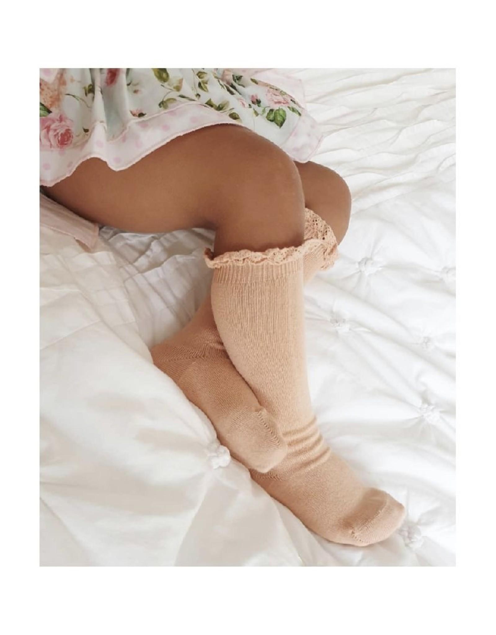 CONDOR Peach Lace Edging Knee Socks