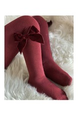 CONDOR Garnet Velvet Bow Tights