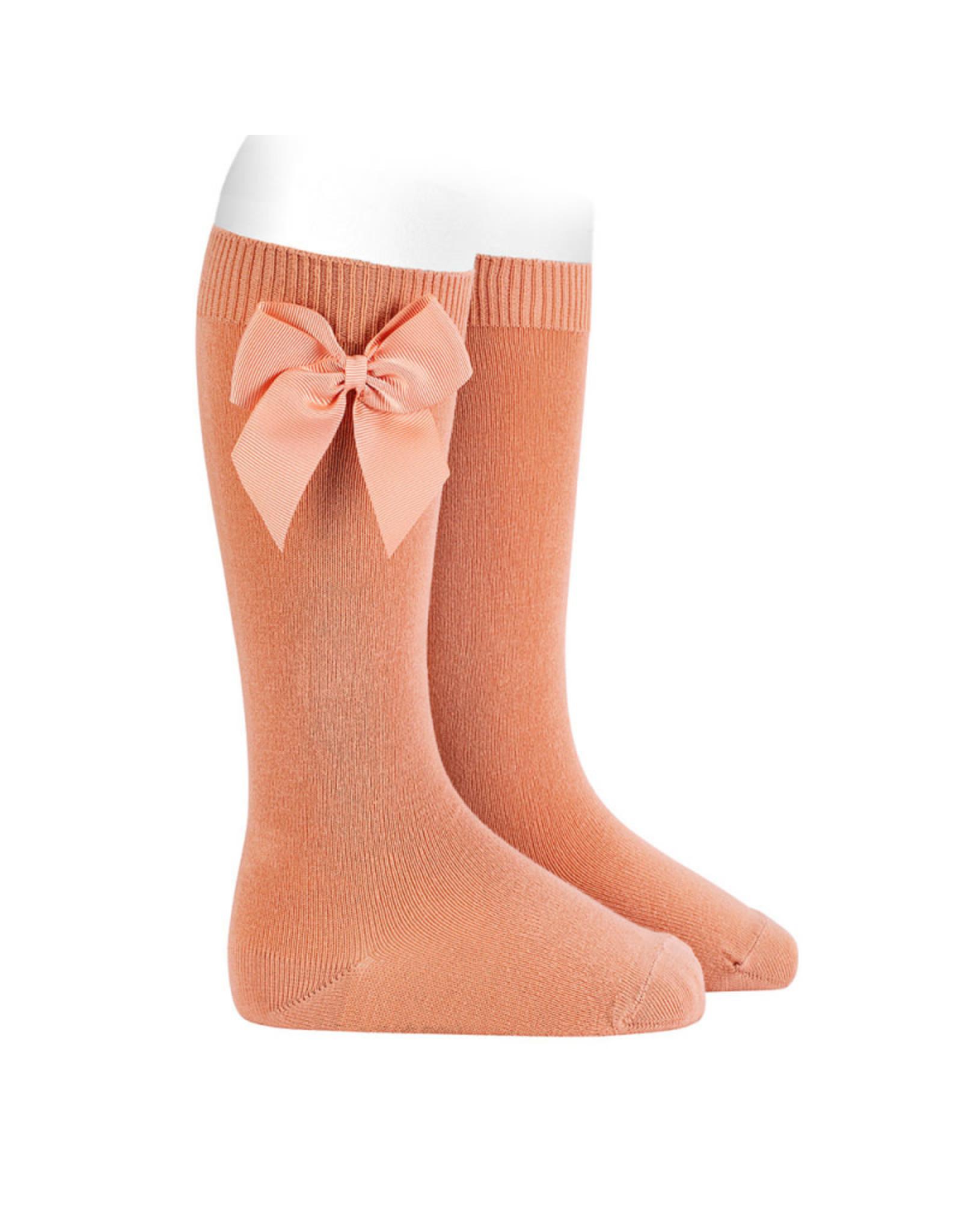 CONDOR Peach Knee Socks with Bow
