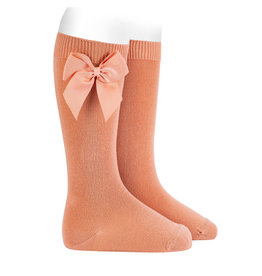 CONDOR Peach Knee Socks with Bow