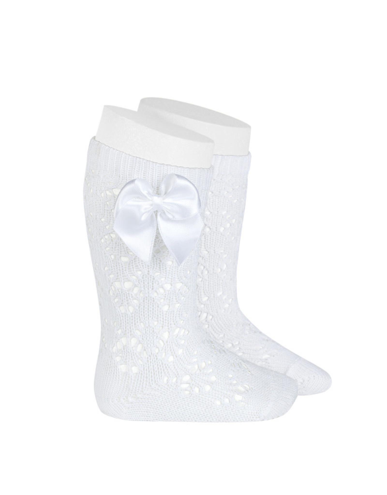 CONDOR White Geometric Socks with Bow
