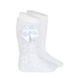 CONDOR White Geometric Socks with Bow