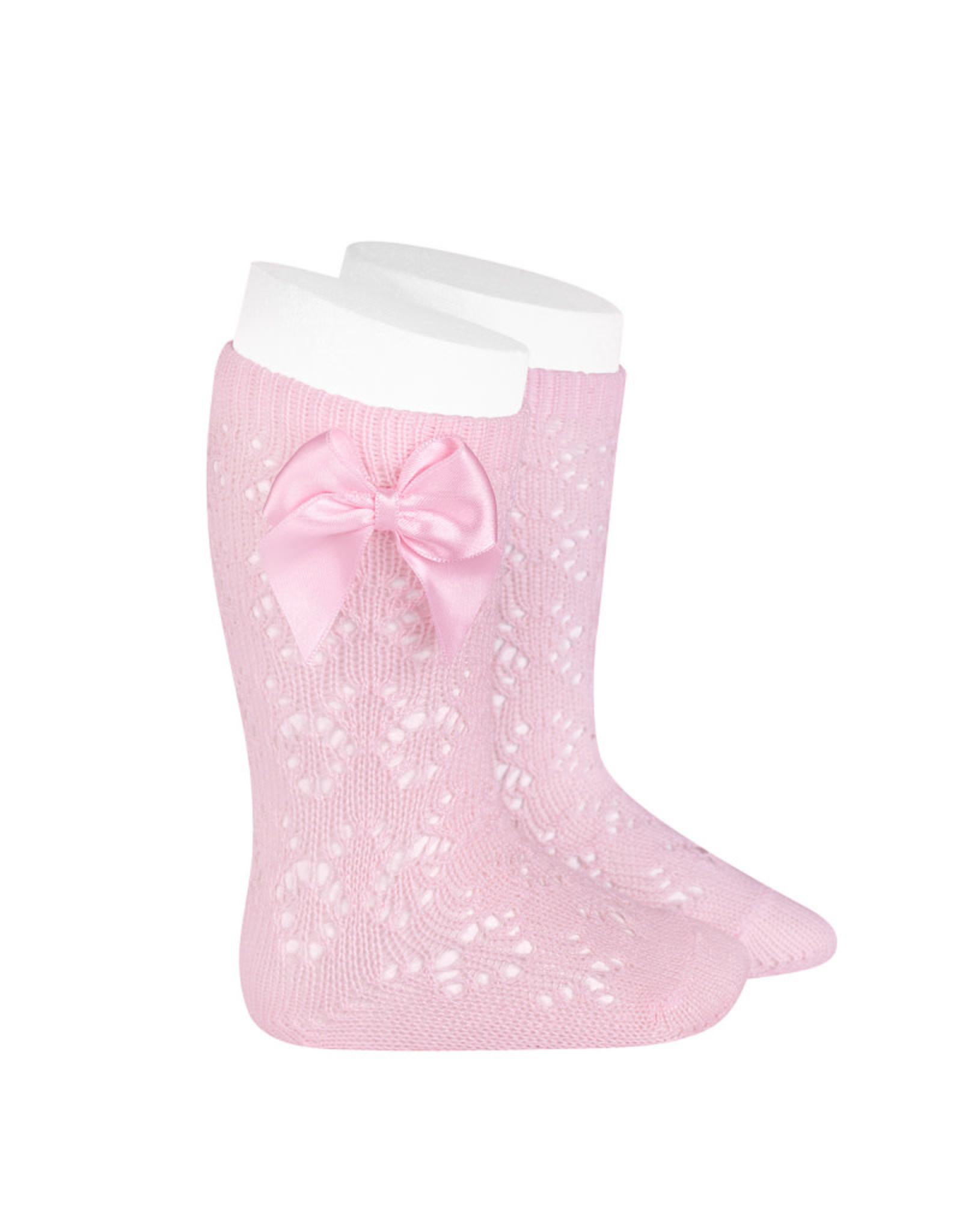 CONDOR Pink Geometric Socks with Bow