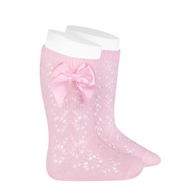 CONDOR Pink Geometric Socks with Bow