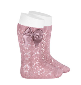CONDOR Pale Pink Geometric Socks with Bow