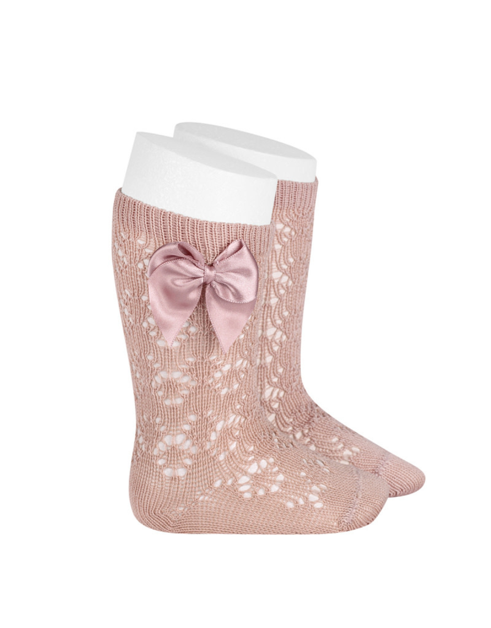 CONDOR Old Rose Geometric socks with Bow