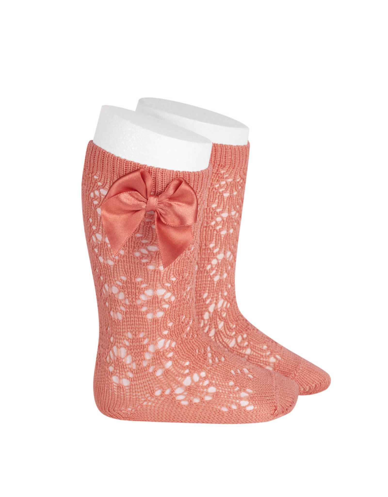 CONDOR Peony Geometric Socks with Bow