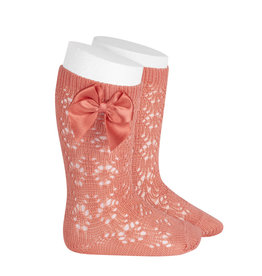 CONDOR Peony Geometric Socks with Bow