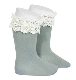 CONDOR Dry Green Lace Trim Socks with Bow