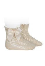 CONDOR Linen Openwork Short Socks with Bow