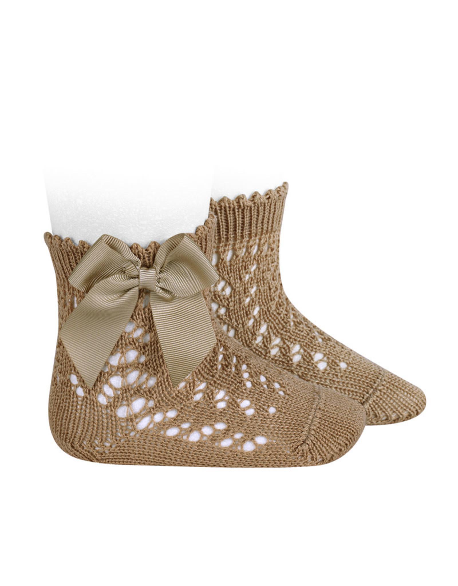 CONDOR Camel Openwork Short Socks with Bow