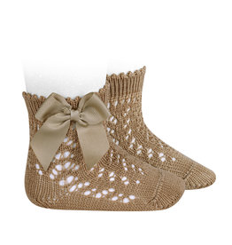 CONDOR Camel Openwork Short Socks with Bow