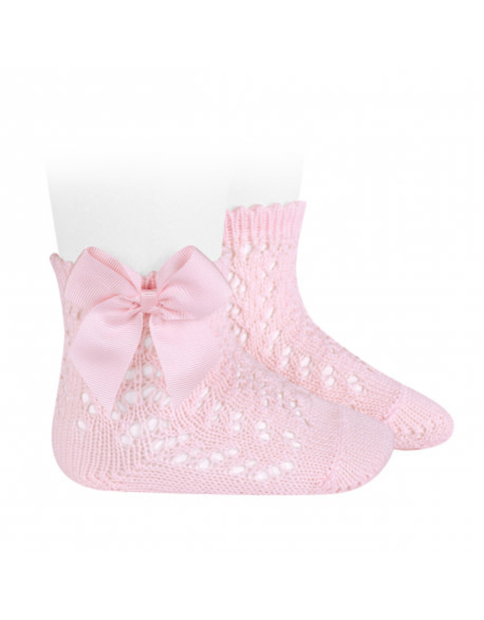 CONDOR Pink Openwork Short Socks with Bow