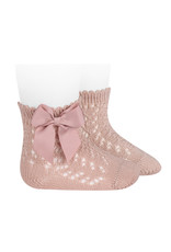 CONDOR Old Rose Openwork Short Socks with Bow