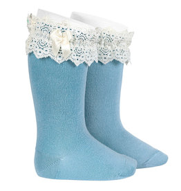 CONDOR Cloud Lace Trim Socks with Bow