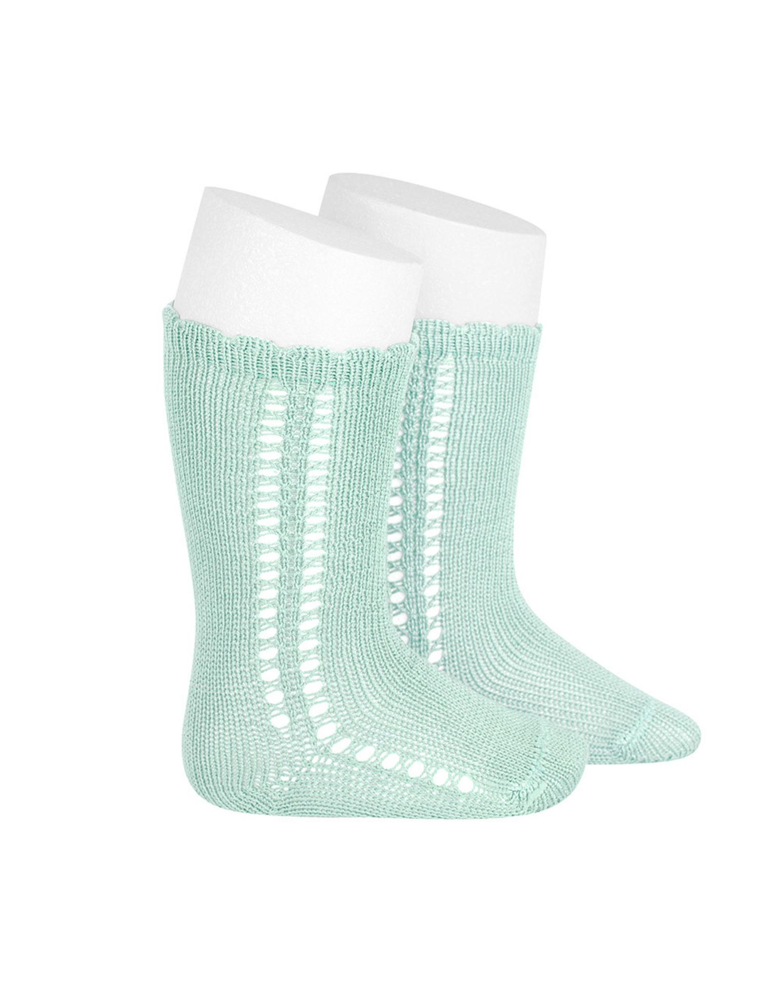 CONDOR Pastel Green Side Openwork Knee Socks
